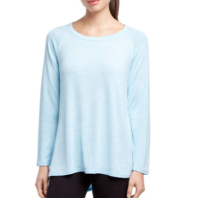 Jockey Long Sleeve Round Neck Tonal T-Shirt-Womens