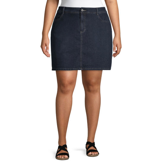 St. John's Bay® Classic Denim Skort - Plus