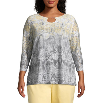 Alfred Dunner Charleston Ombre Floral Tee- Plus