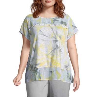 Alfred Dunner Charleston Mixed Media Orchid Tee- Plus
