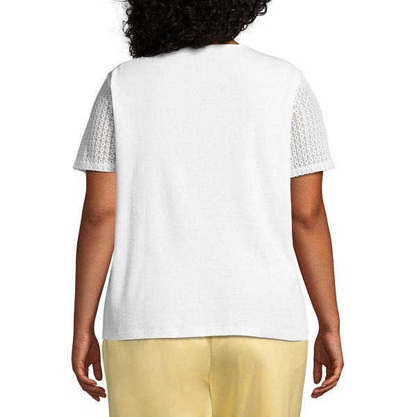 Alfred Dunner Charleston Embroidered Butterfly Tee- Plus