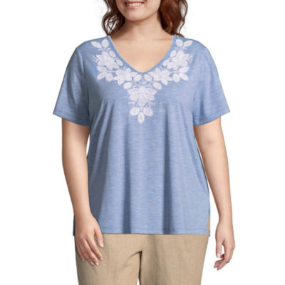 Alfred Dunner Blues Traveler Stripe Tee- Plus