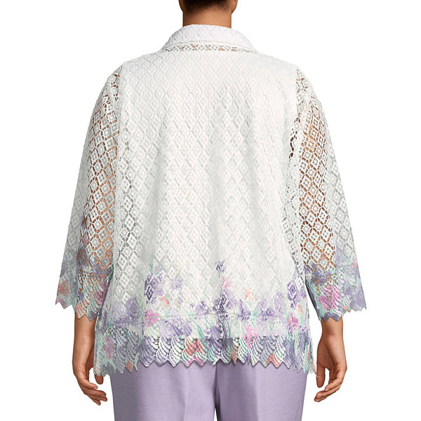 Alfred Dunner Roman Holiday Lace Print Layered Blouse- Plus