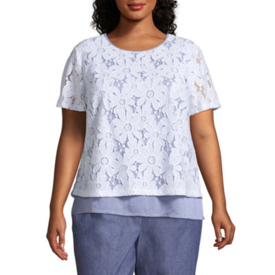 Alfred Dunner Blues Traveler Lace Overlay Pinstripe Tee- Plus