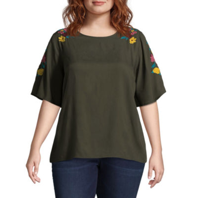 Boutique + Embroidered  Elbow Sleeve Woven Tee - Plus