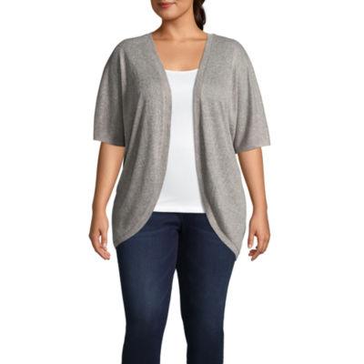 Boutique + Short Sleeve Cardigan - Plus