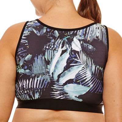 Xersion Floral Lattice Front Sports Bra - Plus