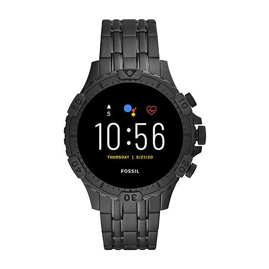 Fossil Smartwatches Gen 5 Garrett Hr Mens Multi-Function Black Stainless Steel Smart Watch-Ftw4038