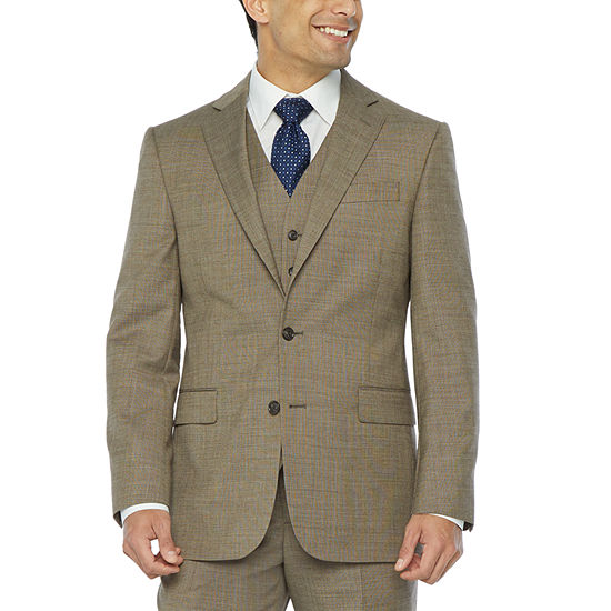 Stafford Super Suit Brown Tic Classic Fit Suit Separates