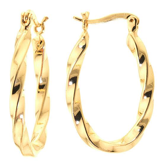 Silver Reflections 24K Gold Over Brass Twist Hoop Earrings