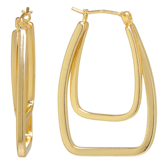 Silver Reflections Pure Silver Over Brass Hoop Earrings