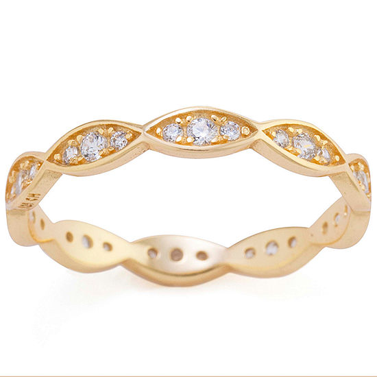 Silver Treasures Sterling Silver Cubic Zirconia Band Ring