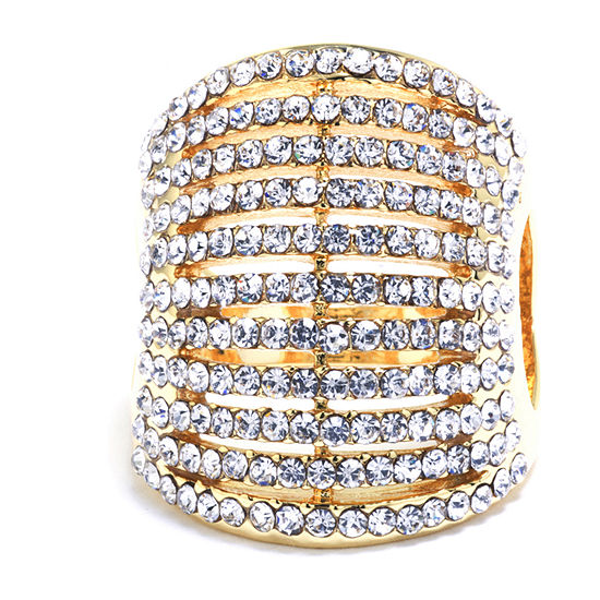 Sparkle Allure Crystal Pure Silver Over Brass Dome Cocktail Ring