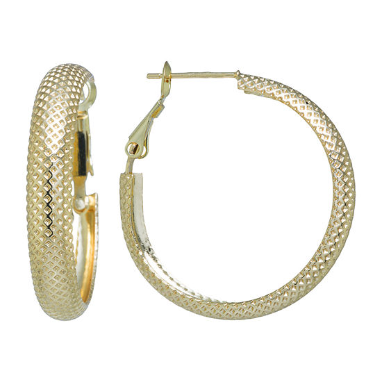 Silver Reflections Gold Reflections 24K Gold Over Brass Hoop Earrings