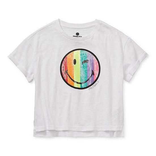 Smiley World Big Girls Crew Neck Short Sleeve Graphic T-Shirt