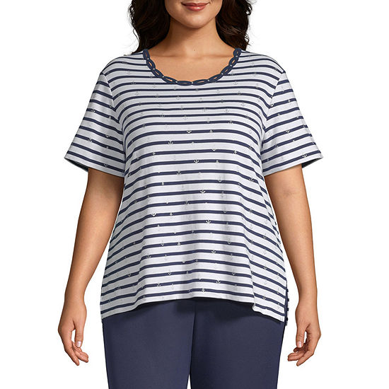 Alfred Dunner Plus Ship Shape-Womens Round Neck Short Sleeve T-Shirt
