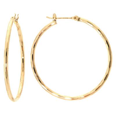 Silver Reflections 24Kt Gold Over Brass 40MM Diamond Cut  Hoop Earrings