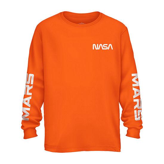 Nasa Mars Mission Mens Crew Neck Long Sleeve Graphic T-Shirt