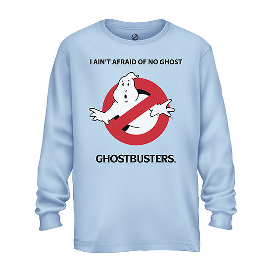 Mens Crew Neck Long Sleeve Ghostbusters Graphic T-Shirt