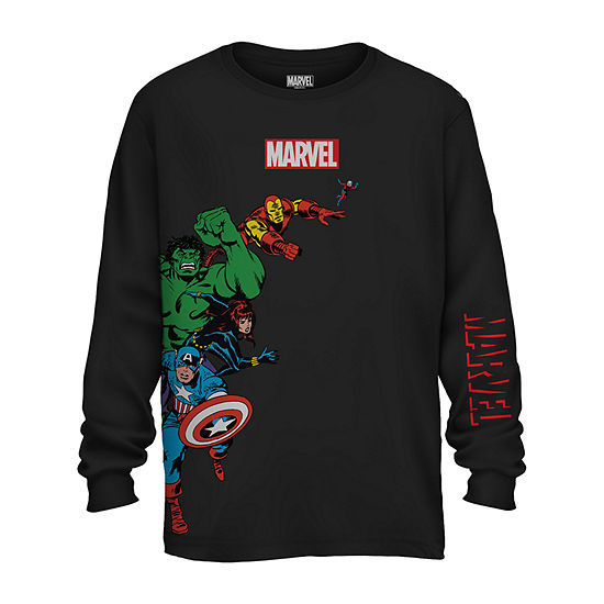 Mens Crew Neck Long Sleeve Marvel Graphic T-Shirt