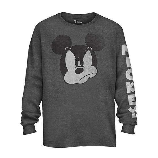 Mens Crew Neck Long Sleeve Mickey Mouse Graphic T-Shirt