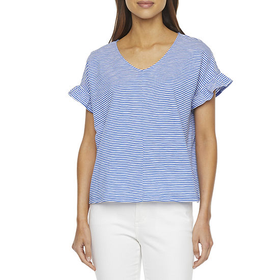 St. John's Bay Womens Round Neck Short Sleeve T-Shirt