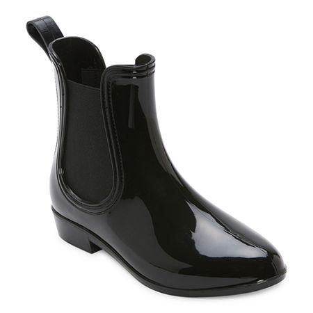 60s Shoes, Go Go Boots   1960s Shoes St. Johns Bay Womens Leeds Rain Boots Flat Heel 10 Medium Black $31.99 AT vintagedancer.com