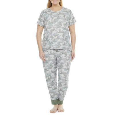Jaclyn Camo Family Sleepwear Womens-Plus Pant Pajama Set 2-pc. Short Sleeve