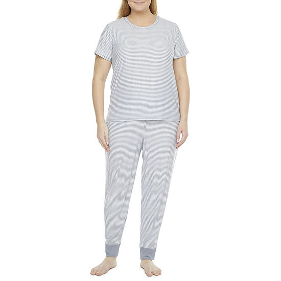 Jaclyn True Stripe Family Sleep Womens-Plus Pant Pajama Set 2-pc. Short Sleeve