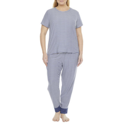 Jaclyn Magazine Stripe Family Sleep Womens-Plus Pant Pajama Set 2-pc. Short Sleeve