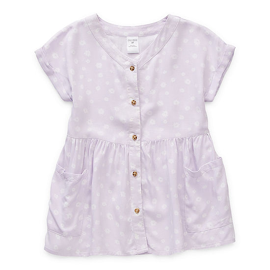 Okie Dokie Toddler Girls Short Sleeve Cap Sleeve Floral A-Line Dress