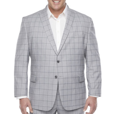 JF J.Ferrar Ultra Comfort Mens Windowpane Stretch Classic Fit Suit Jacket-Big and Tall