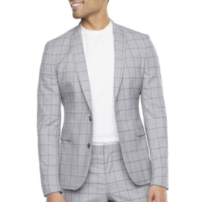 JF J.Ferrar Ultra Comfort Mens Windowpane Stretch Super Slim Fit Suit Jacket