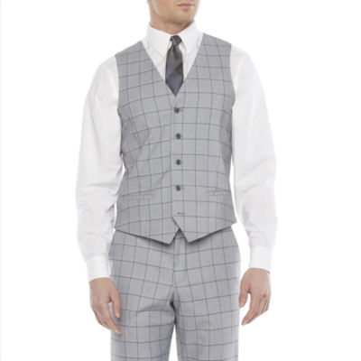JF J.Ferrar Mens Windowpane Slim Fit Suit Vest