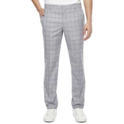 JF J.Ferrar Mens Windowpane Super Slim Fit Suit Pants