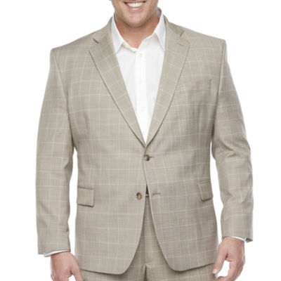 Stafford Super Suit Mens Windowpane Stretch Classic Fit Suit Jacket-Big and Tall