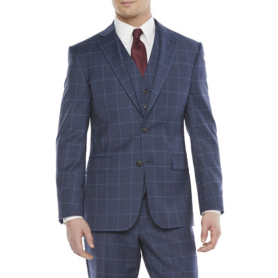 Stafford Mens Windowpane Stretch Classic Fit Suit Jacket