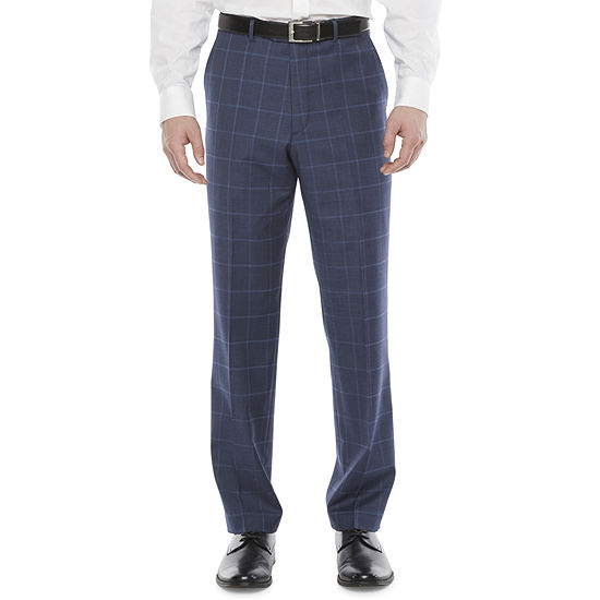 Stafford Mens Windowpane Stretch Classic Fit Suit Pants