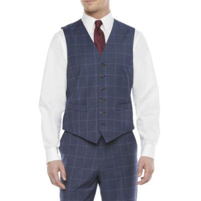 Stafford Mens Windowpane Stretch Classic Fit Suit Vest