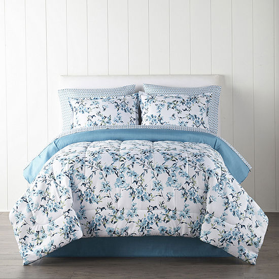 Home Expressions Aster Floral Reversible Complete Bedding Set with Sheets