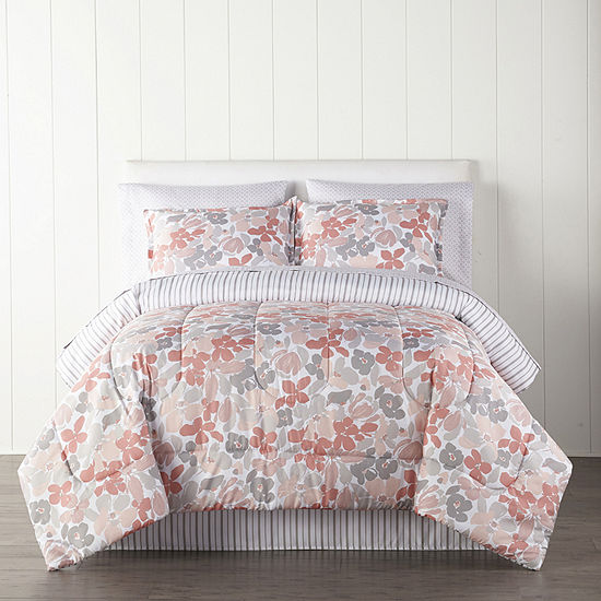 Home Expressions Cassia Floral Reversible Complete Bedding Set with Sheets
