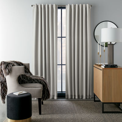 Loom + Forge Mason Textured Overlay Energy Saving 100% Blackout Back-Tab Single Curtain Panel