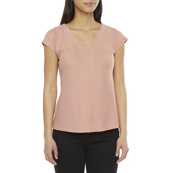 Liz Claiborne Womens V Neck Short Sleeve T-Shirt