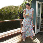 TIER MAXI DRESS: Tiered Floral Maxi with Ruffle Sleeves & Heeled Sandals