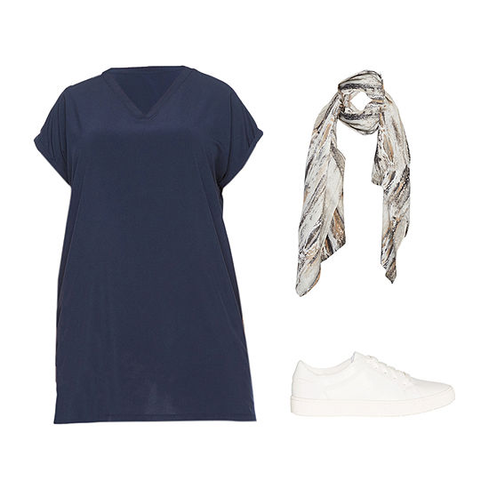 PLUS NAVY STYLUS DRESS: Plus Stylus Woven Dress, Scarf & Sneakers