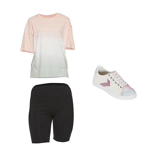 FLIRT TEE/SHORT: Flirtitude Oversized Tee, Bike Short & Tie Dye Sneakers