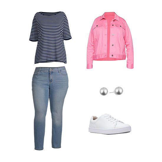 PLUS PINK SJB: St. John's Bay Denim Jacket, Boatneck Tee, Straight Leg Denim & Oxfords