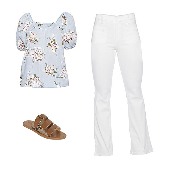 Peasant Dreams: a.n.a. Smocked Floral Top, Flare Jeans & Flat Sandals