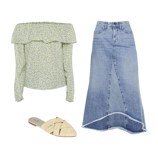 RUFFLE TOP/DENIM SKIRT: a.n.a. Ruffle Off the Shoulder Top, Long Denim Skirt & Mules
