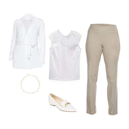 LIZ WHITE/GEO PANT: Liz Dolman Top, Cardigan, Pull-on Pants & Loafers